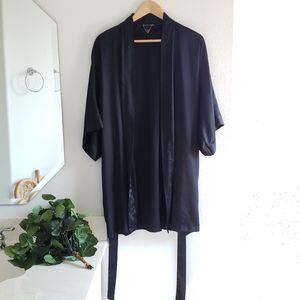 Victoria's Secret Black Satin Robe Medium Large
